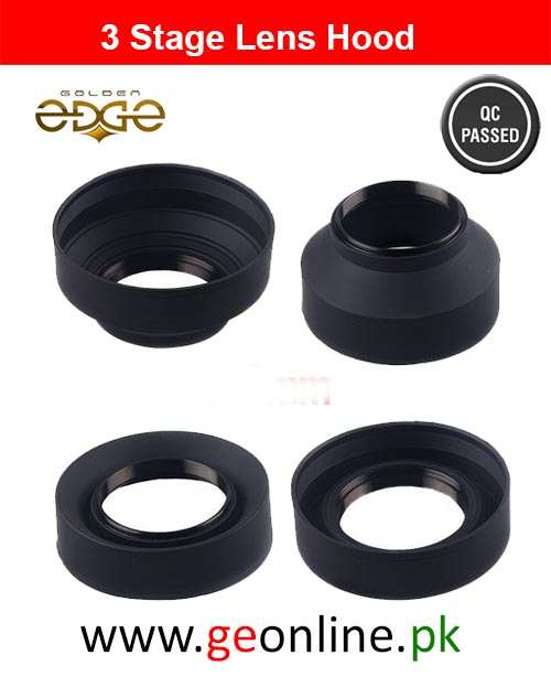 Lens Hood 3-Stage 52mm Collapsible Rubber