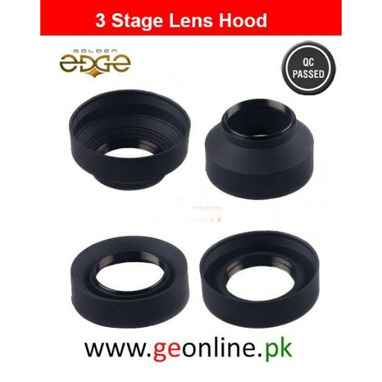 Lens Hood 3-Stage 62mm  Collapsible Rubber Foldable Wide Mid Tele Universal
