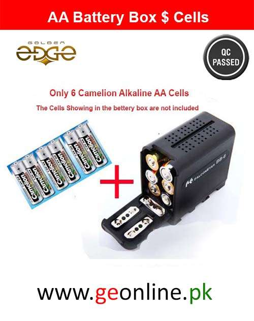 AA Cell Battery Box Case + 6 Camelion Alcaline Betteries  AA Cells