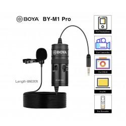 Mic Boya  BOYA BY-M1 Pro Omnidirectional Lavalier Microphone Clip-on Lapel Mic for Smartphones, DSLRs, Camcorders, PC - 1 Year Warranty