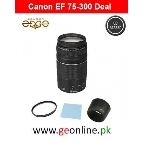 Lens Canon EF 75-300mm f/4-5.6 III+UV Filter+Lens Hood+Cleaning Cloth