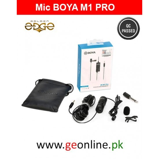 Mic Boya  BOYA BY-M1 Pro Omnidirectional Lavalier Microphone Clip-on Lapel Mic for Smartphones, DSLRs, Camcorders, PC - 1 Year Warranty